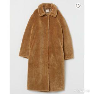 H&M Faux Fur Long Coat in Light Beige XS